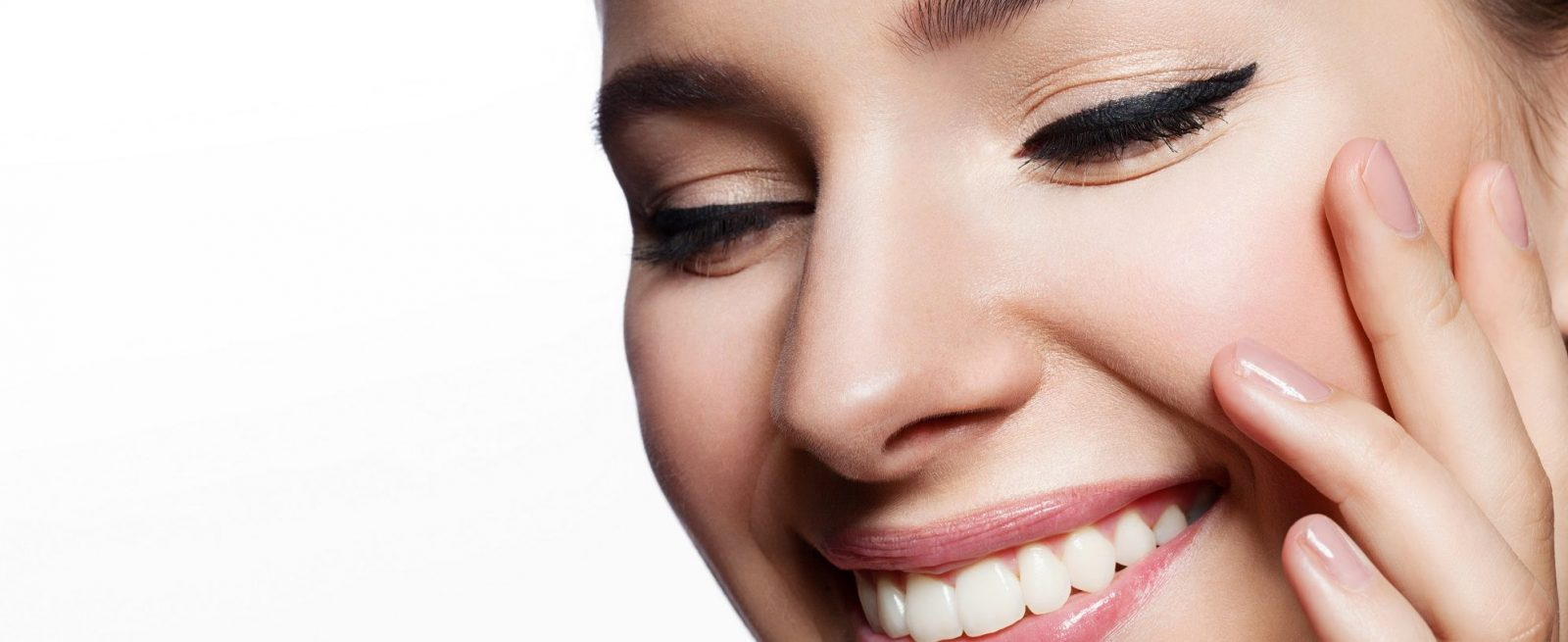 stock image of model smiling